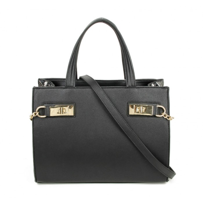 a58dc1e522 Grab Bag with Snake Skin Detail - Black - Bags and Bangles