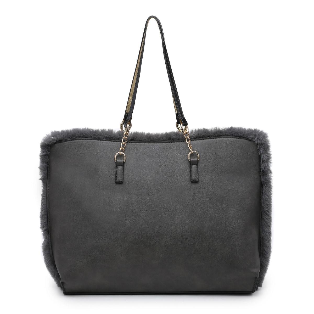 d27f07871d Faux Fur Tote Bag - Grey - Bags and Bangles